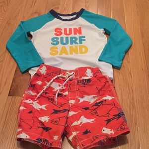 Gap 3t swim trunks and rash guard